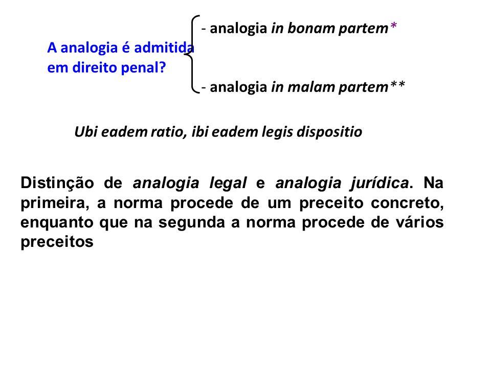 - analogia in bonam partem* A analogia é admitida em direito penal? - analogia in malam partem** Ubi eadem ratio, ibi eadem legis dispositio Distinção