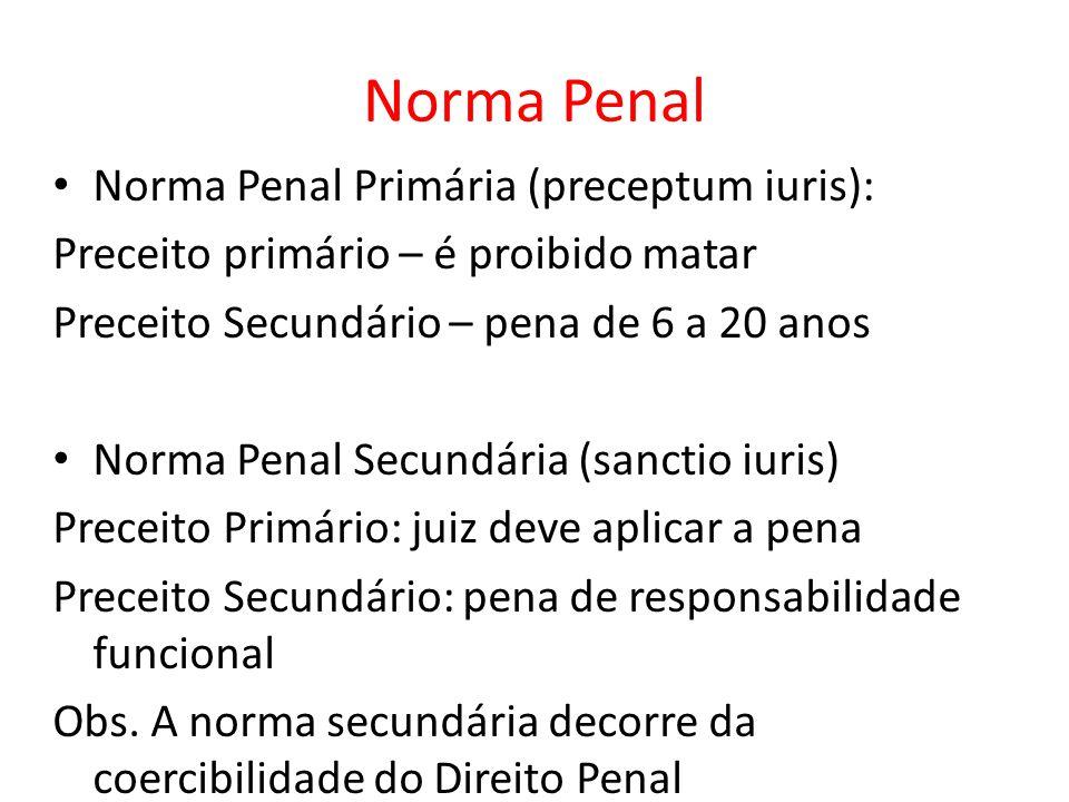 Norma Penal Norma Penal Primária (preceptum iuris): Preceito primário – é proibido matar Preceito Secundário – pena de 6 a 20 anos Norma Penal Secundá