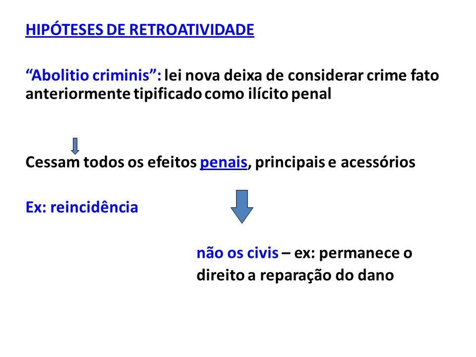 """HIPÓTESES DE RETROATIVIDADE """"Abolitio criminis"""": lei nova deixa de considerar crime fato anteriormente tipificado como ilícito penal Cessam todos os e"""