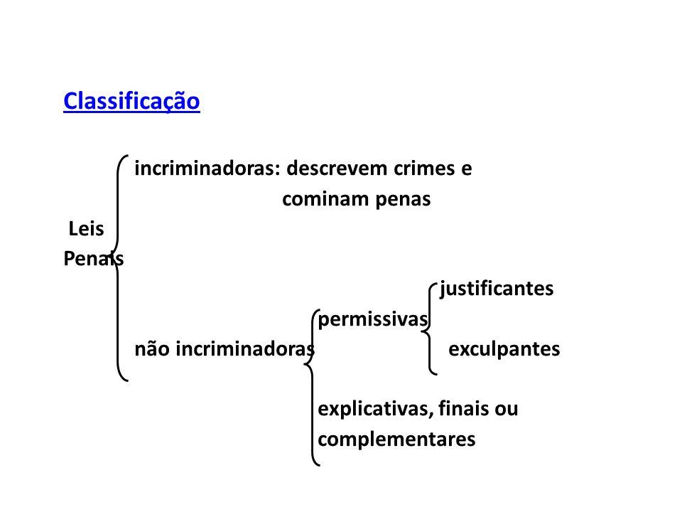 Classificação incriminadoras: descrevem crimes e cominam penas Leis Penais justificantes permissivas não incriminadoras exculpantes explicativas, finais ou complementares