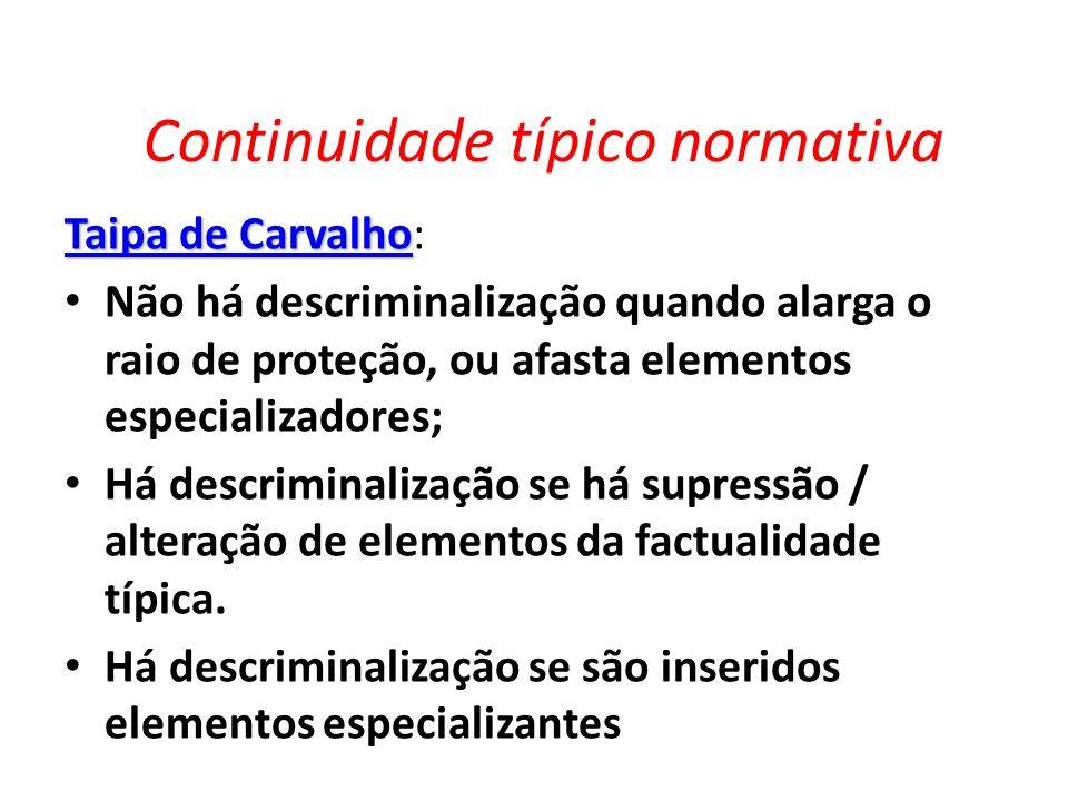 Continuidade típico normativa Taipa de Carvalho Taipa de Carvalho: Não há descriminalização quando alarga o raio de proteção, ou afasta elementos espe