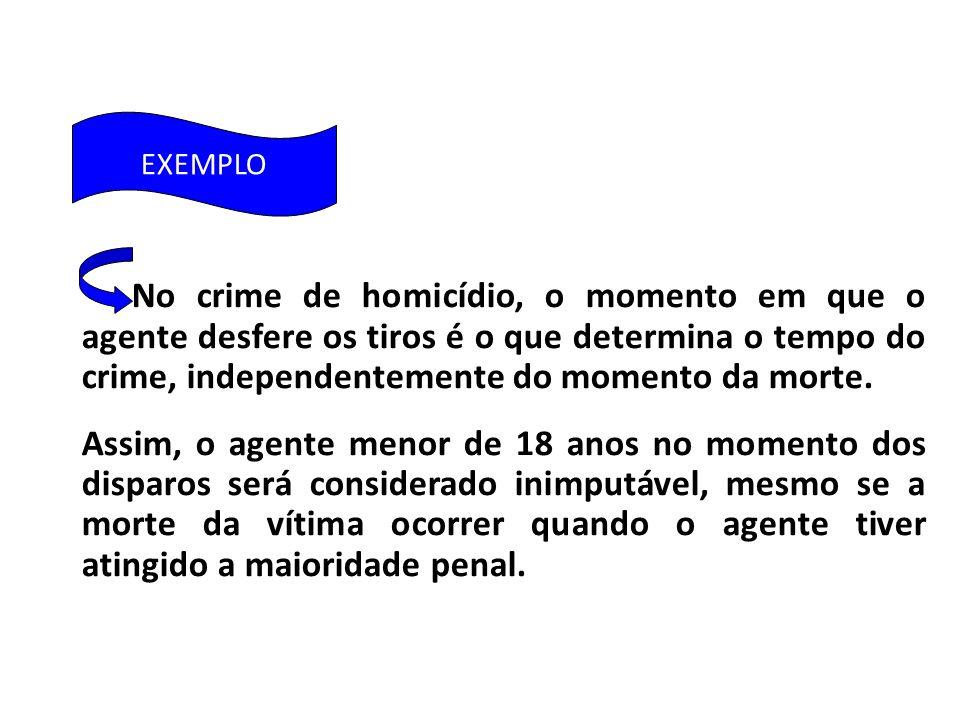 No crime de homicídio, o momento em que o agente desfere os tiros é o que determina o tempo do crime, independentemente do momento da morte.
