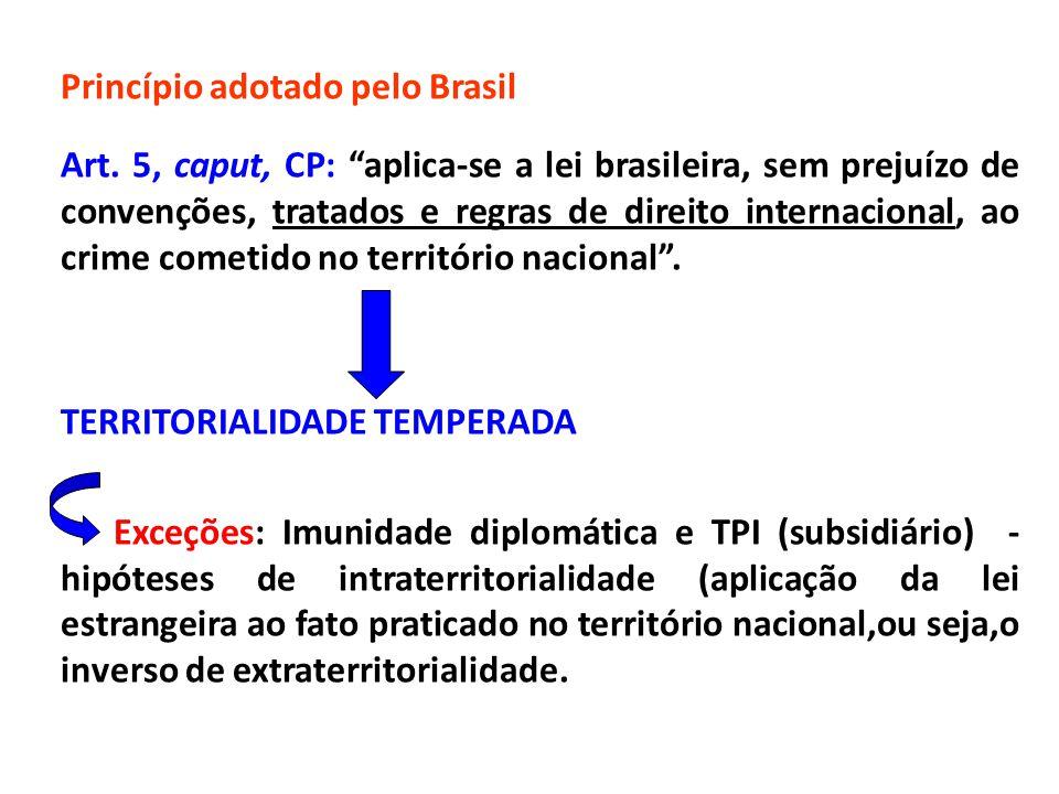 """Princípio adotado pelo Brasil Art. 5, caput, CP: """"aplica-se a lei brasileira, sem prejuízo de convenções, tratados e regras de direito internacional,"""