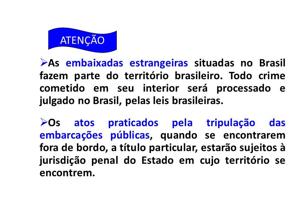  As embaixadas estrangeiras situadas no Brasil fazem parte do território brasileiro. Todo crime cometido em seu interior será processado e julgado no