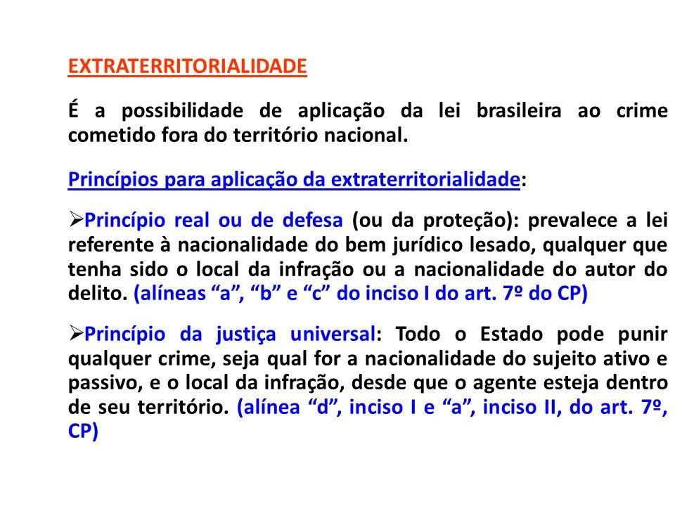 EXTRATERRITORIALIDADE É a possibilidade de aplicação da lei brasileira ao crime cometido fora do território nacional. Princípios para aplicação da ext