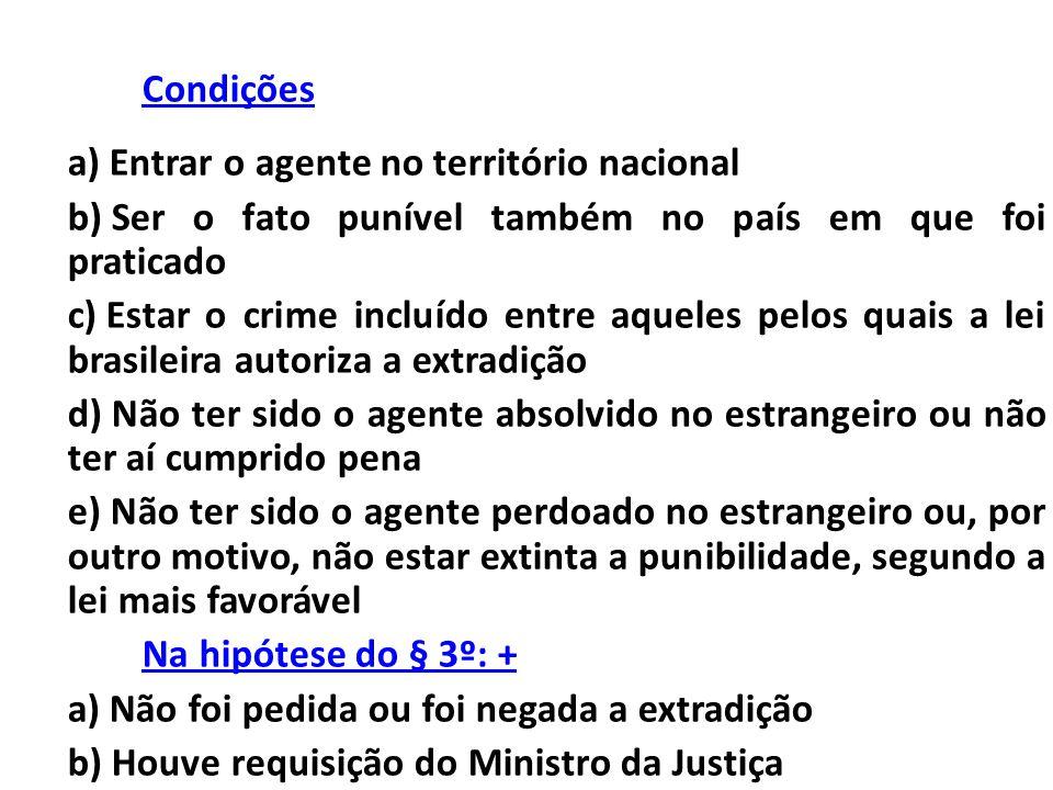 Condições a) Entrar o agente no território nacional b) Ser o fato punível também no país em que foi praticado c) Estar o crime incluído entre aqueles