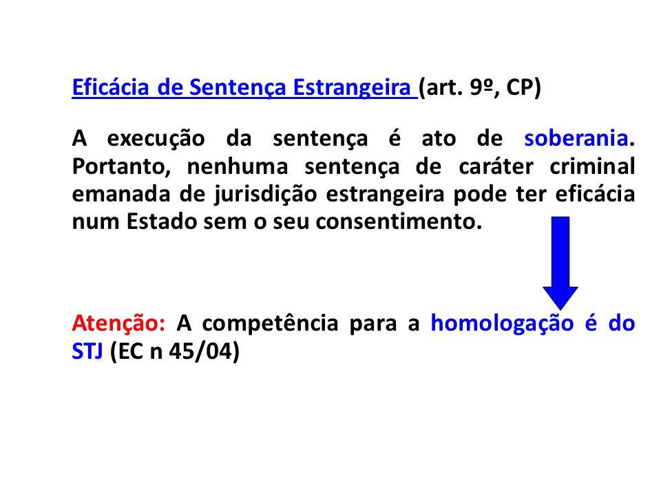 Eficácia de Sentença Estrangeira (art. 9º, CP) A execução da sentença é ato de soberania. Portanto, nenhuma sentença de caráter criminal emanada de ju