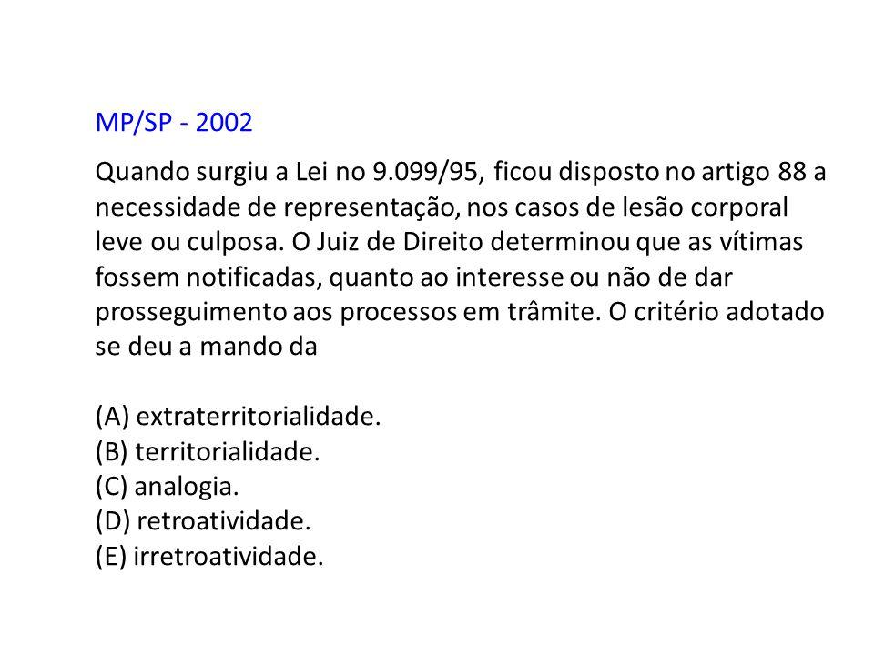 MP/SP - 2002 Quando surgiu a Lei no 9.099/95, ficou disposto no artigo 88 a necessidade de representação, nos casos de lesão corporal leve ou culposa.