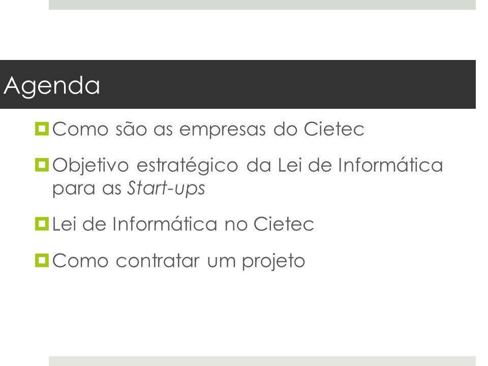 Agenda  Como são as empresas do Cietec  Objetivo estratégico da Lei de Informática para as Start-ups  Lei de Informática no Cietec  Como contratar um projeto