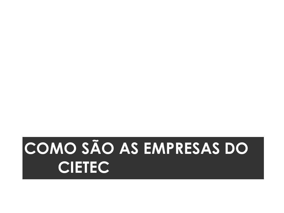 COMO SÃO AS EMPRESAS DO CIETEC