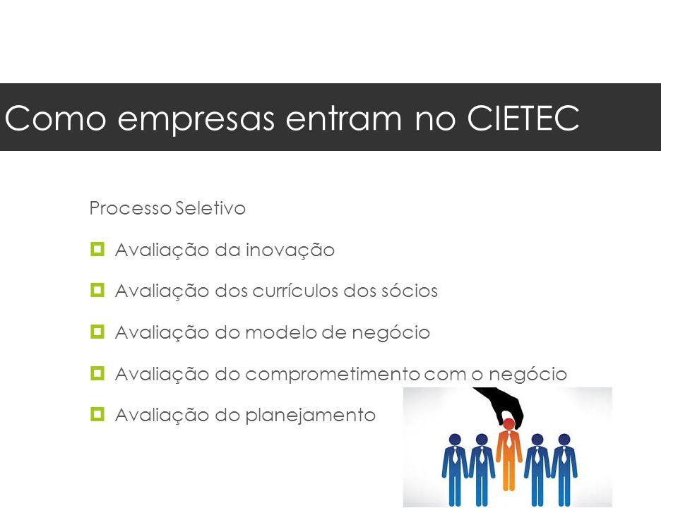 Como empresas entram no CIETEC Processo Seletivo  Avaliação da inovação  Avaliação dos currículos dos sócios  Avaliação do modelo de negócio  Avaliação do comprometimento com o negócio  Avaliação do planejamento