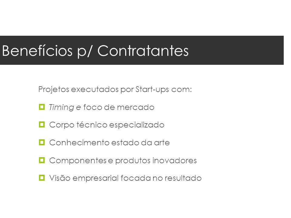 Benefícios p/ Contratantes Projetos executados por Start-ups com:  Timing e foco de mercado  Corpo técnico especializado  Conhecimento estado da arte  Componentes e produtos inovadores  Visão empresarial focada no resultado