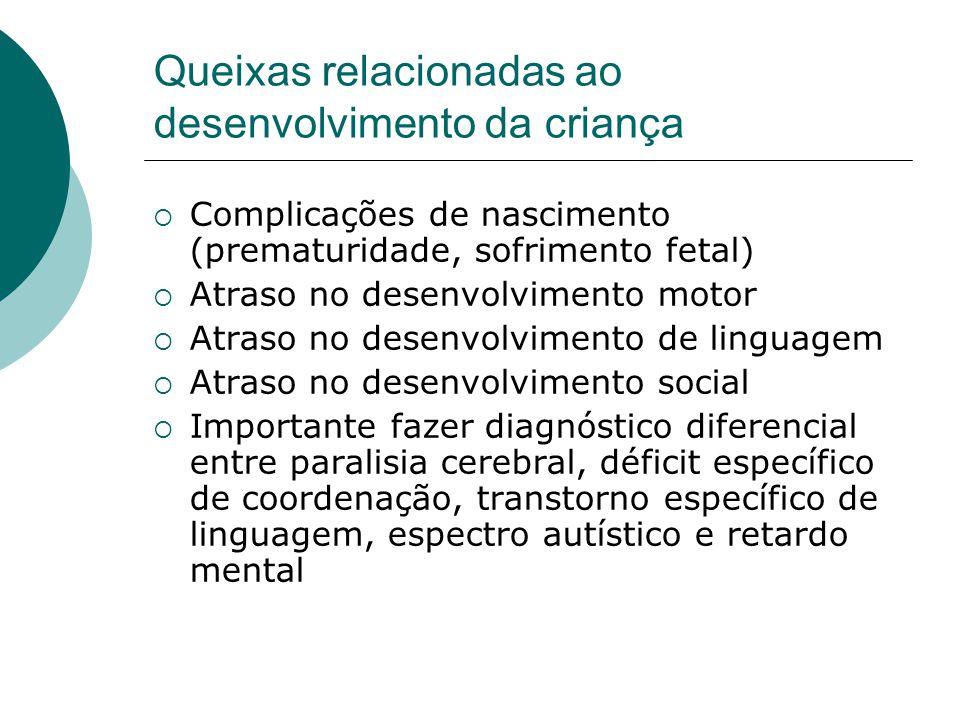 Queixas relacionadas ao desenvolvimento da criança  Complicações de nascimento (prematuridade, sofrimento fetal)  Atraso no desenvolvimento motor 