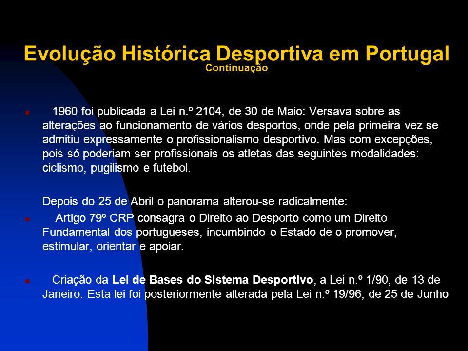 Evolução Histórica Desportiva em Portugal Continuação 1960 foi publicada a Lei n.º 2104, de 30 de Maio: Versava sobre as alterações ao funcionamento de vários desportos, onde pela primeira vez se admitiu expressamente o profissionalismo desportivo.