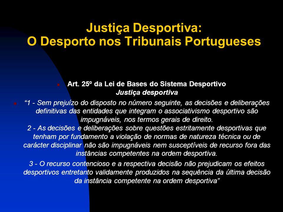 Justiça Desportiva: O Desporto nos Tribunais Portugueses Art.