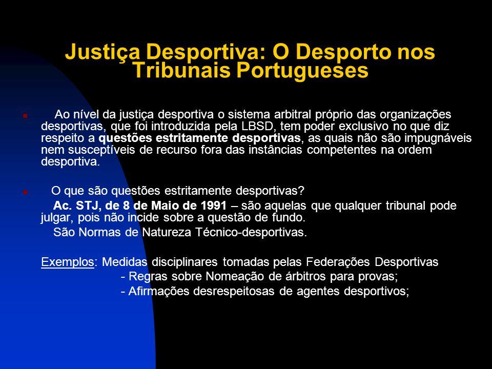 Justiça Desportiva: O Desporto nos Tribunais Portugueses Saber até onde podem ir, qual o limite em relação à administração pública, aos Tribunais Judi