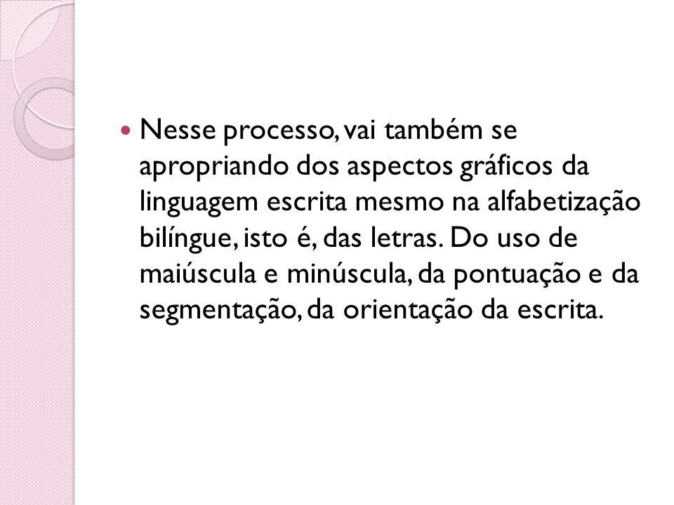 Nesse processo, vai também se apropriando dos aspectos gráficos da linguagem escrita mesmo na alfabetização bilíngue, isto é, das letras. Do uso de ma
