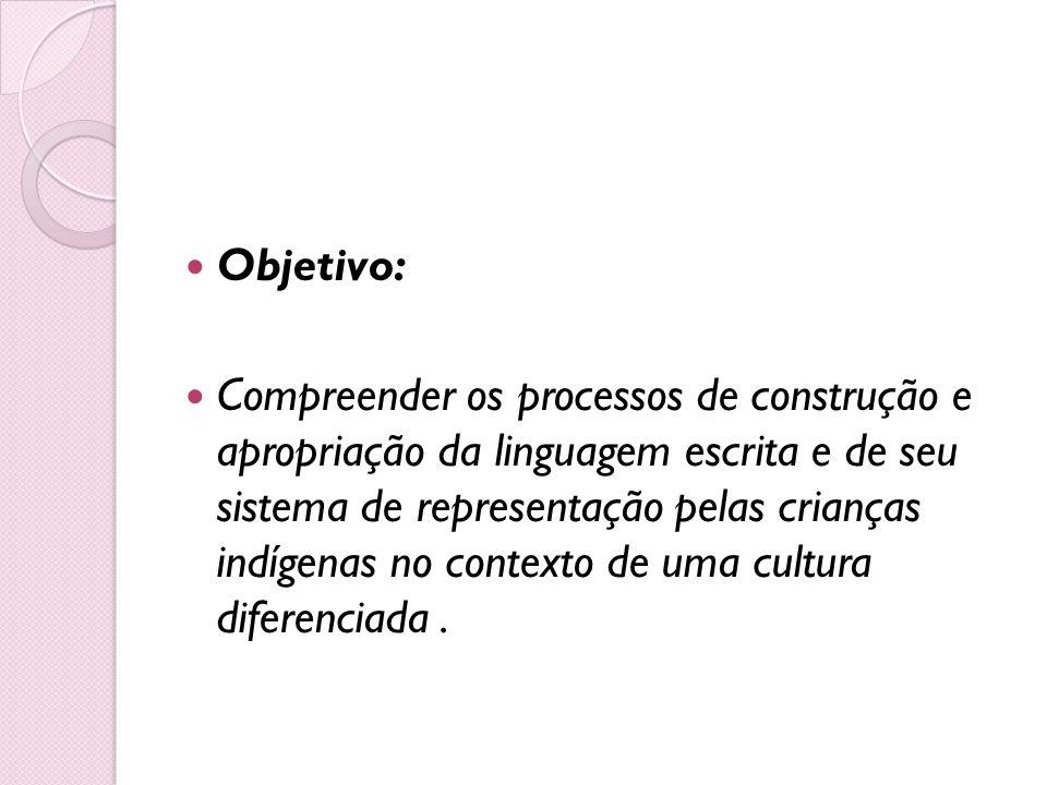 Objetivo: Compreender os processos de construção e apropriação da linguagem escrita e de seu sistema de representação pelas crianças indígenas no cont