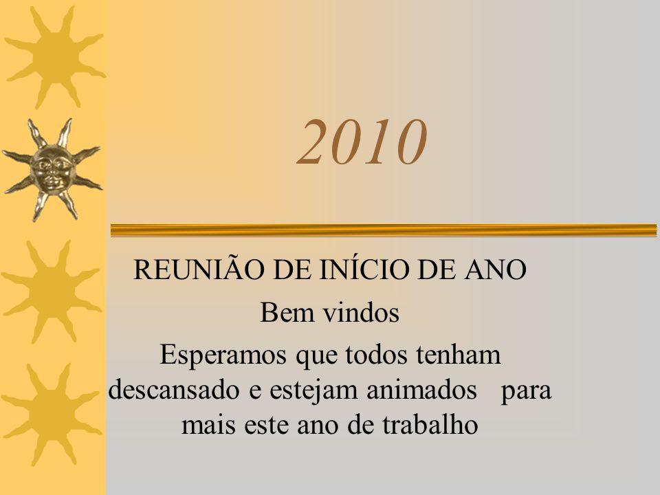 2010 REUNIÃO DE INÍCIO DE ANO Bem vindos Esperamos que todos tenham descansado e estejam animados para mais este ano de trabalho