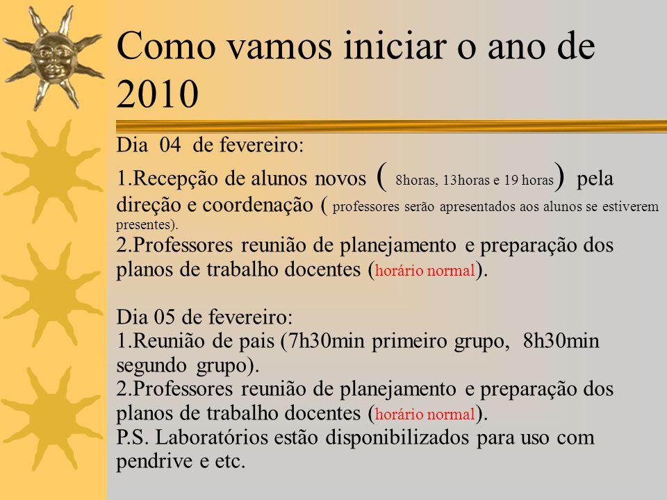 Como vamos iniciar o ano de 2010  Durante o abono pecuniário professores e coordenadores que dele participaram tinham como meta organizar os horários