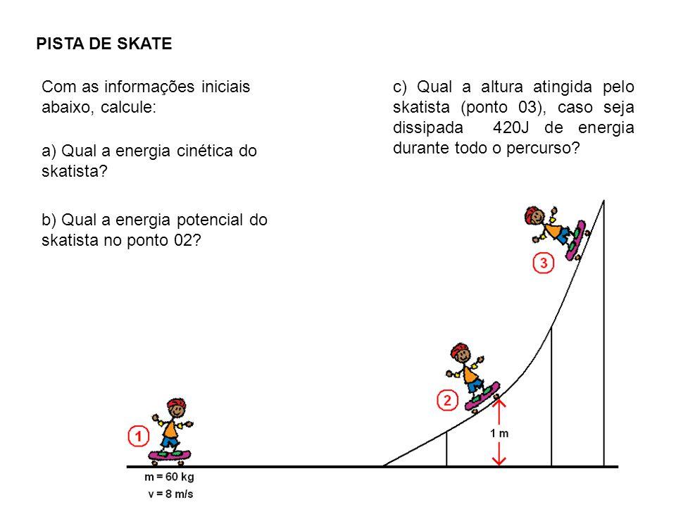 PISTA DE SKATE Com as informações iniciais abaixo, calcule: a) Qual a energia cinética do skatista.