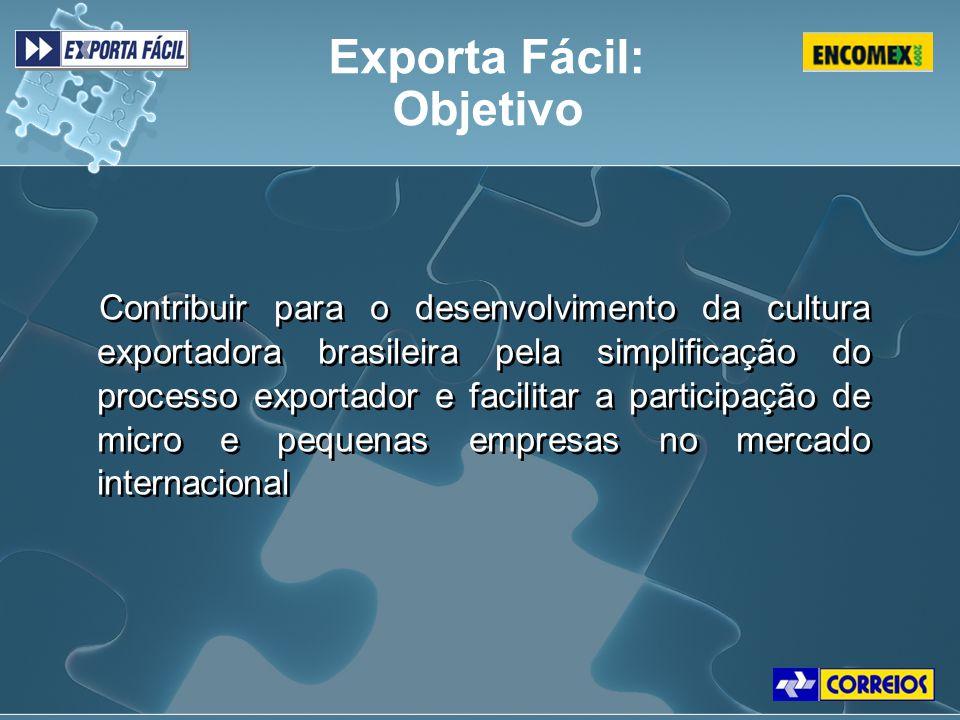 Contribuir para o desenvolvimento da cultura exportadora brasileira pela simplificação do processo exportador e facilitar a participação de micro e pe