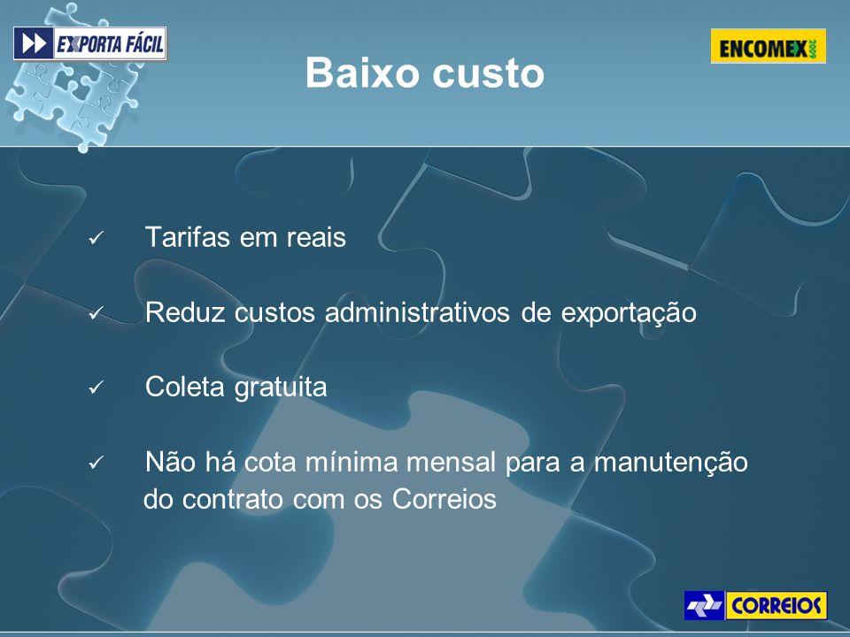 Tarifas em reais Reduz custos administrativos de exportação Coleta gratuita Não há cota mínima mensal para a manutenção do contrato com os Correios Ta