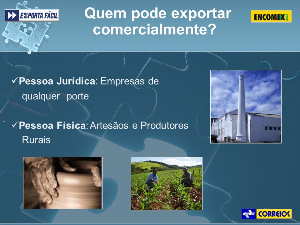 Quem pode exportar comercialmente? Pessoa Jurídica: Empresas de qualquer porte Pessoa Física: Artesãos e Produtores Rurais