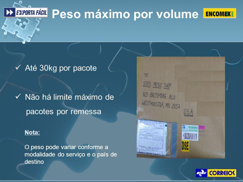 Peso máximo por volume Até 30kg por pacote Não há limite máximo de pacotes por remessa Nota: O peso pode variar conforme a modalidade do serviço e o p