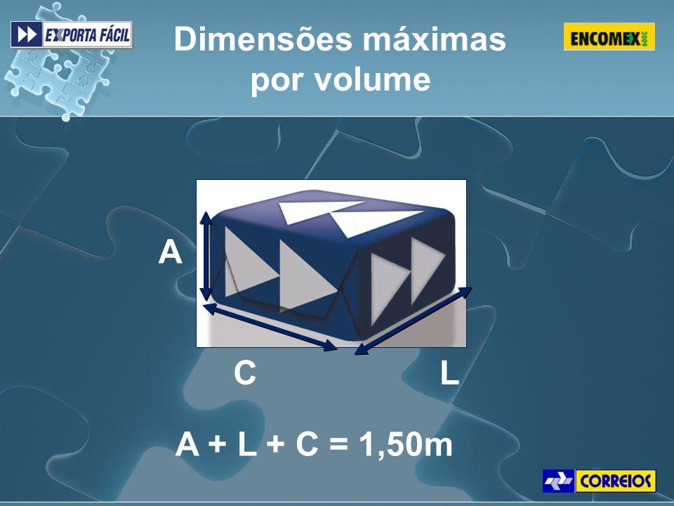 Dimensões máximas por volume A C L A + L + C = 1,50m