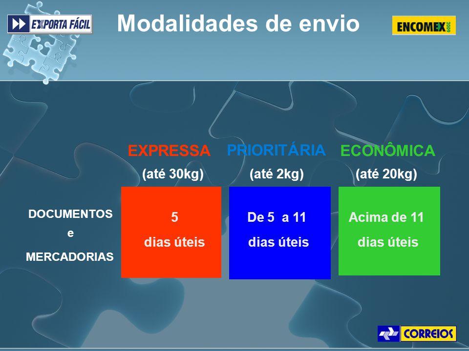 Modalidades de envio DOCUMENTOS e PRIORITÁRIA (até 2kg) MERCADORIAS Acima de 11 dias úteis (até 30kg)(até 20kg) De 5 a 11 dias úteis 5 dias úteis EXPR