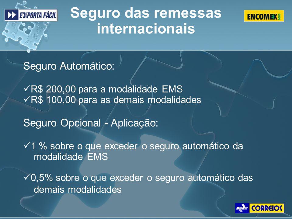 Seguro Automático: R$ 200,00 para a modalidade EMS R$ 100,00 para as demais modalidades Seguro Opcional - Aplicação: 1 % sobre o que exceder o seguro