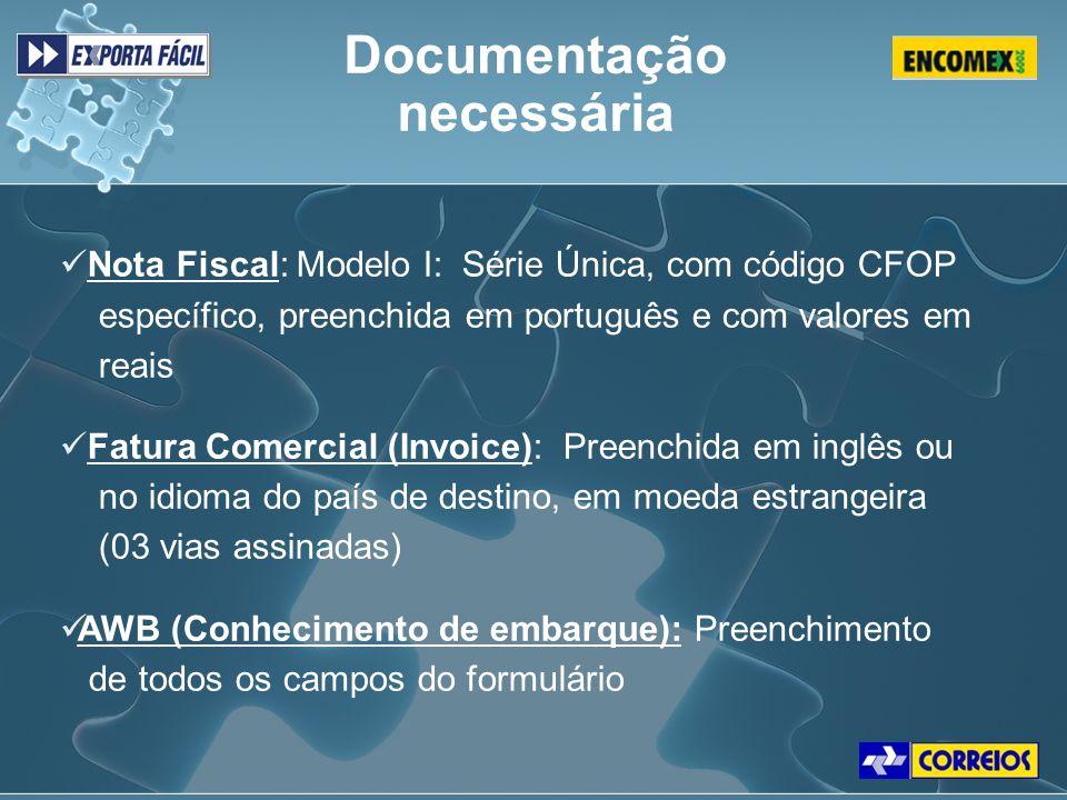 Nota Fiscal: Modelo I: Série Única, com código CFOP específico, preenchida em português e com valores em reais Fatura Comercial (Invoice): Preenchida