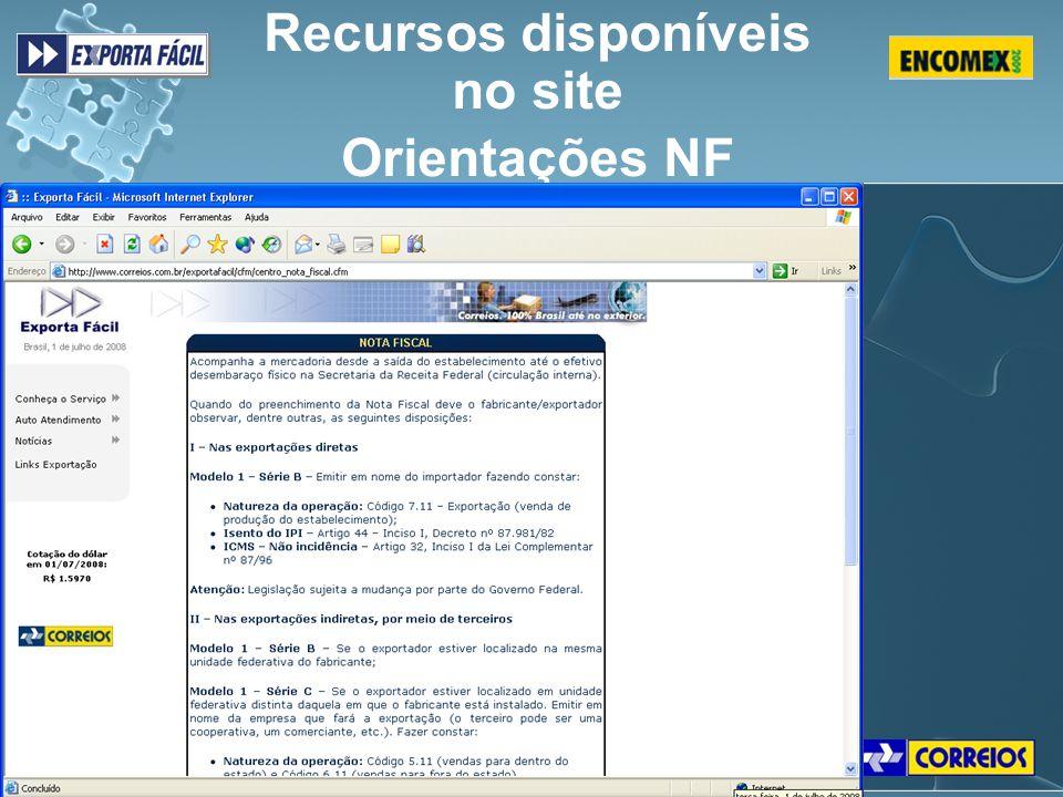 Recursos disponíveis no site Orientações NF