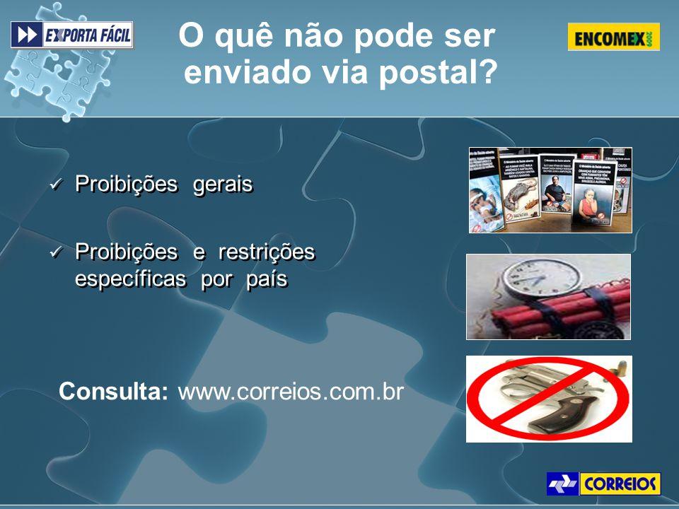 Proibições gerais Proibições e restrições específicas por país Proibições gerais Proibições e restrições específicas por país Consulta: www.correios.c