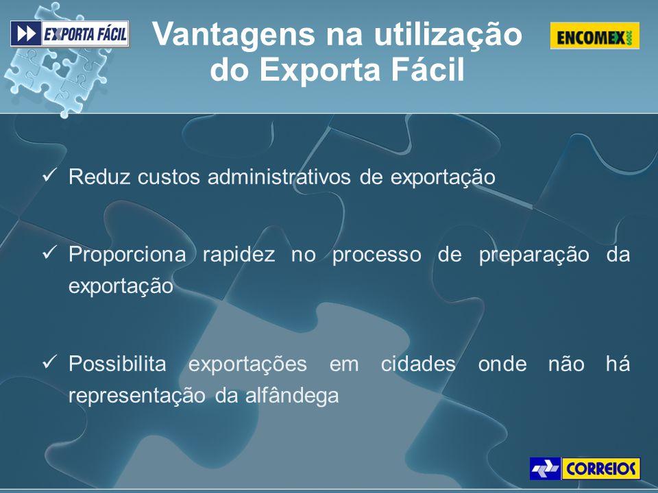 Reduz custos administrativos de exportação Proporciona rapidez no processo de preparação da exportação Possibilita exportações em cidades onde não há