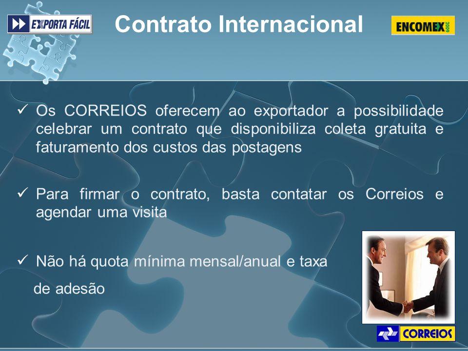 Os CORREIOS oferecem ao exportador a possibilidade celebrar um contrato que disponibiliza coleta gratuita e faturamento dos custos das postagens Para