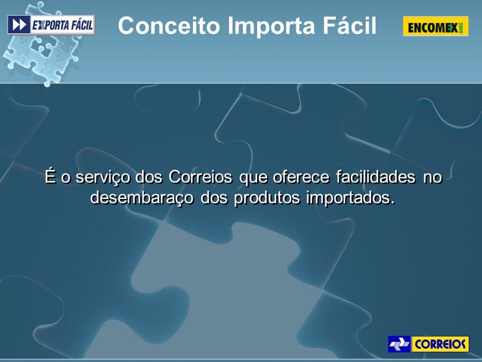 É o serviço dos Correios que oferece facilidades no desembaraço dos produtos importados. Conceito Importa Fácil