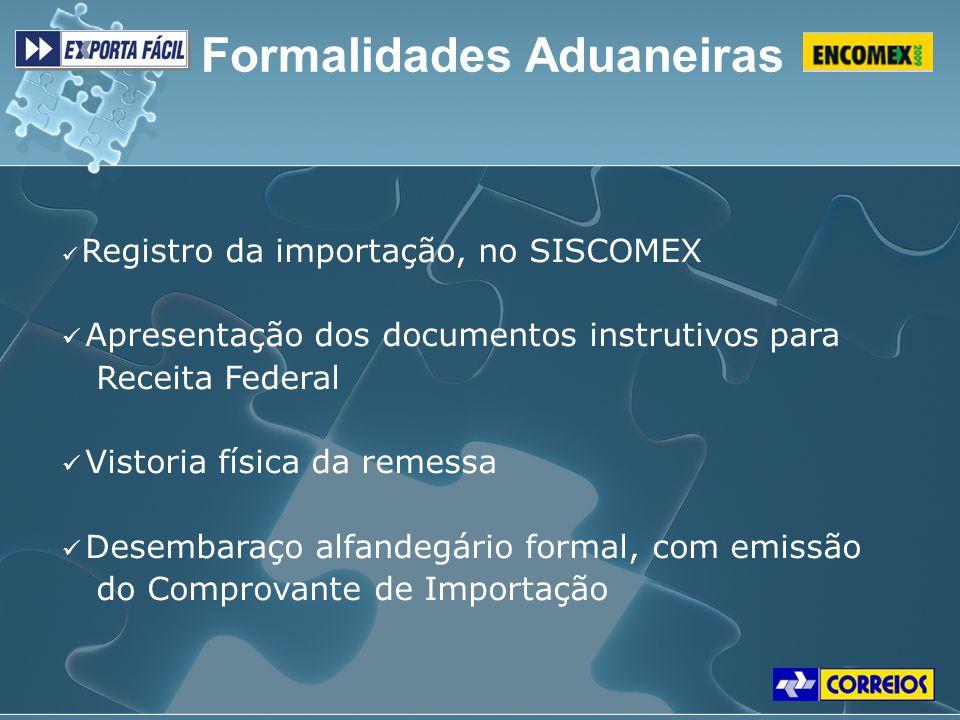 Formalidades Aduaneiras Registro da importação, no SISCOMEX Apresentação dos documentos instrutivos para Receita Federal Vistoria física da remessa De