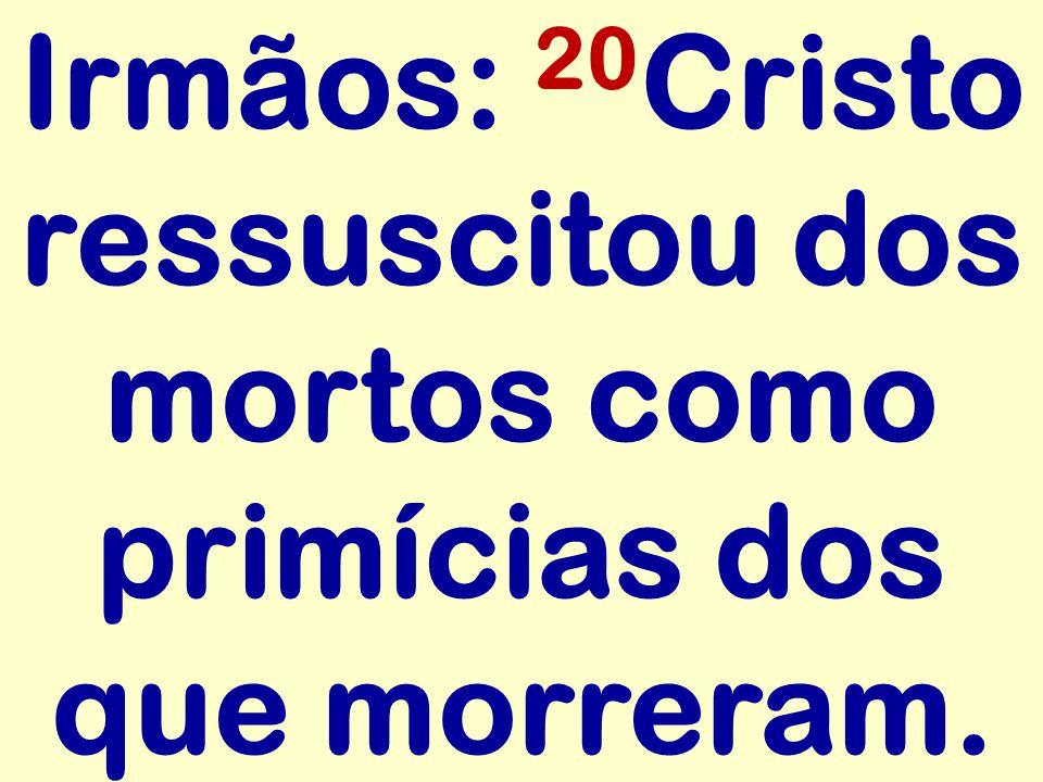 Irmãos: 20 Cristo ressuscitou dos mortos como primícias dos que morreram.