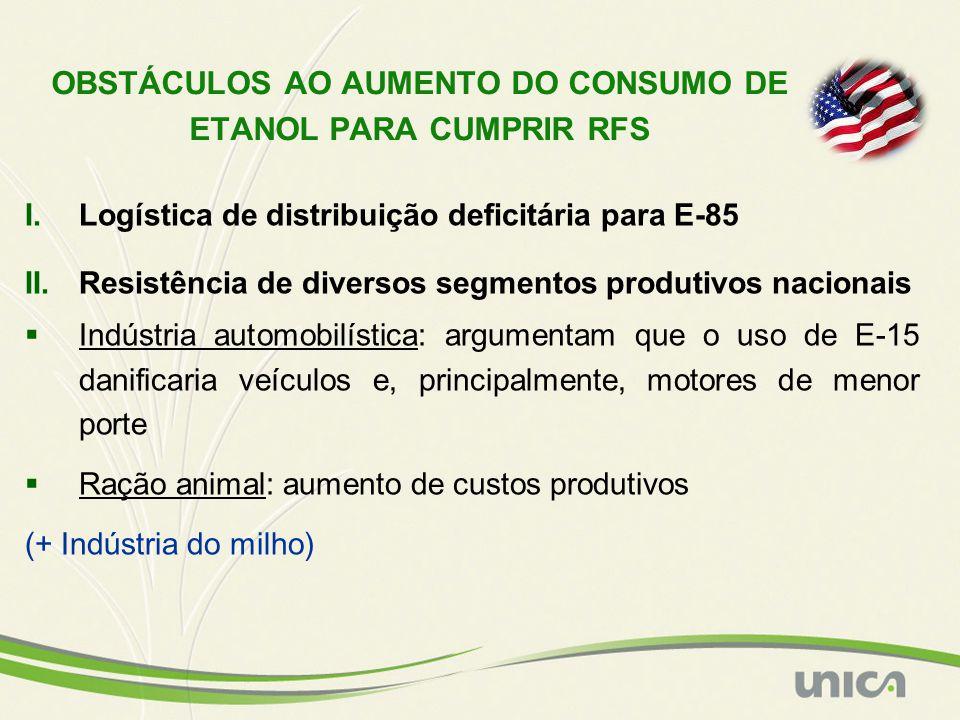 I.Logística de distribuição deficitária para E-85 II.Resistência de diversos segmentos produtivos nacionais  Indústria automobilística: argumentam qu
