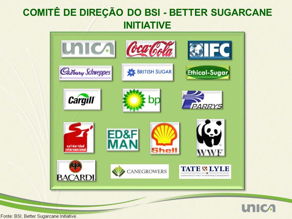 COMITÊ DE DIREÇÃO DO BSI - BETTER SUGARCANE INITIATIVE Fonte: BSI, Better Sugarcane Initiative.