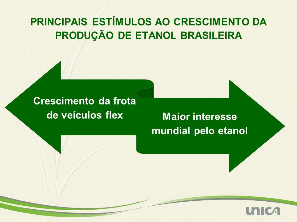 Crescimento da frota de veículos flex Maior interesse mundial pelo etanol PRINCIPAIS ESTÍMULOS AO CRESCIMENTO DA PRODUÇÃO DE ETANOL BRASILEIRA