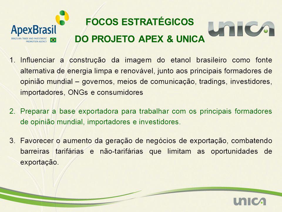 1.Influenciar a construção da imagem do etanol brasileiro como fonte alternativa de energia limpa e renovável, junto aos principais formadores de opin