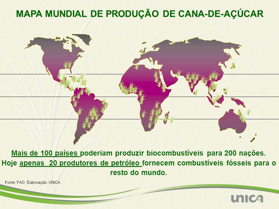 MAPA MUNDIAL DE PRODUÇÃO DE CANA-DE-AÇÚCAR Mais de 100 países poderiam produzir biocombustíveis para 200 nações. Hoje apenas 20 produtores de petróleo