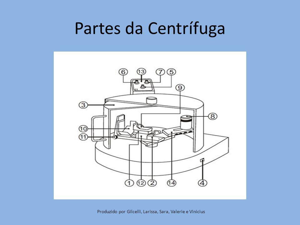 1.Berço (suporte) para o cadinho; 2.Braço da centrifuga; 3.Porta de proteção; 4.Chave geral (liga e desliga); 5.Botão de ajuste de velocidade R.P.M .; 6.Botão de aceleração; 7.Tempo de centrifugação; 8.Ajuste do contra peso; 9.Cadinho; 10.Berço do anel de revestimento; 11.Elevador para regular a altura do anel; 12.Regulador de proximidade do berço do cadinho ao anel; 13.Lâmpada piloto; 14.Indicador de posição do contra peso.
