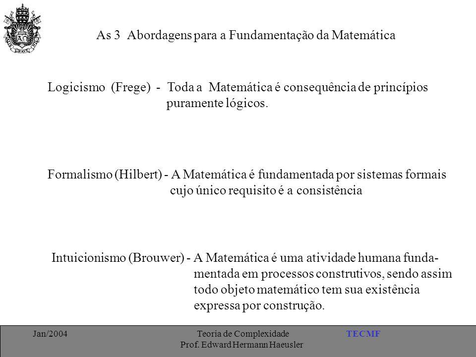 TECMFJan/2004 Teoria de Complexidade Prof. Edward Hermann Haeusler As 3 Abordagens para a Fundamentação da Matemática Logicismo (Frege) - Toda a Matem