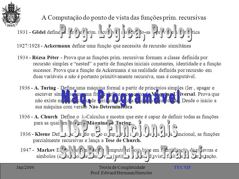 TECMFJan/2004 Teoria de Complexidade Prof. Edward Hermann Haeusler A Computação do ponto de vista das funções prim. recursivas 1931 - Gödel define as