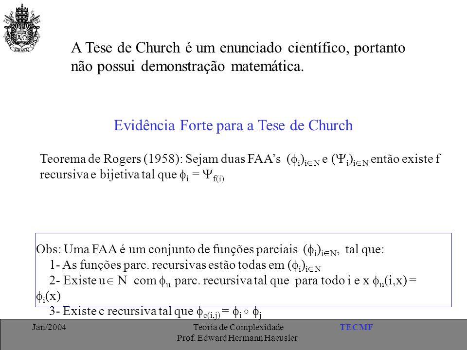 TECMFJan/2004 Teoria de Complexidade Prof. Edward Hermann Haeusler A Tese de Church é um enunciado científico, portanto não possui demonstração matemá