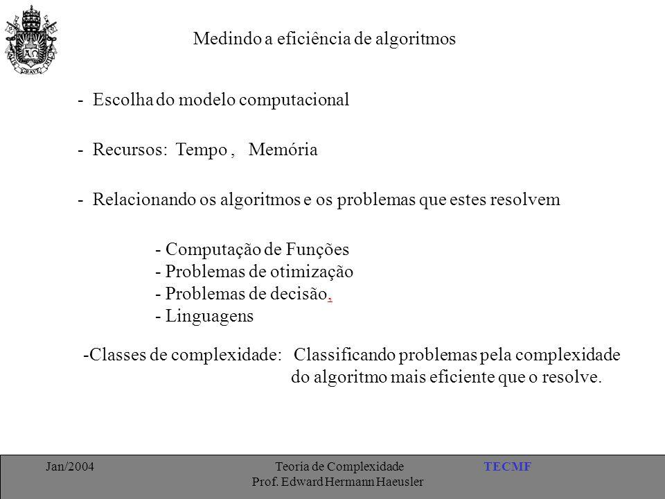 TECMFJan/2004 Teoria de Complexidade Prof. Edward Hermann Haeusler Medindo a eficiência de algoritmos - Escolha do modelo computacional - Recursos: Te